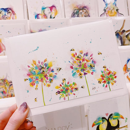 Greetings card - Blossoming Honey Bees 1