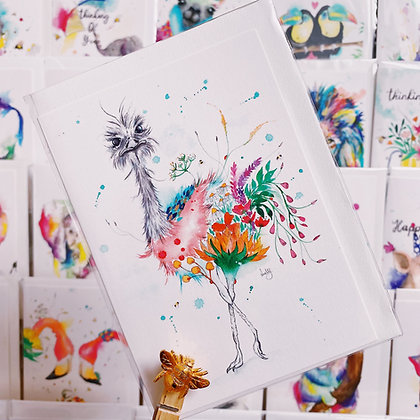 Greetings Cards - Ostentatious Ostrich
