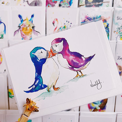 Greetings cards - Kissing Puffins