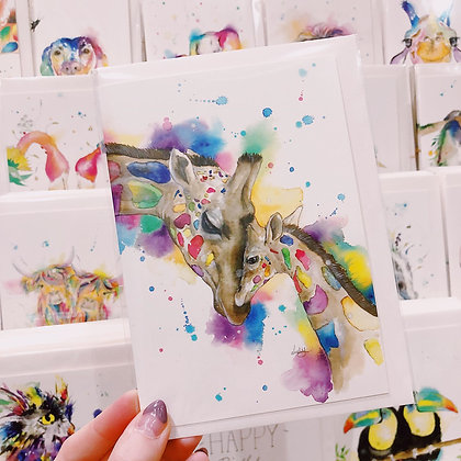 Greetings cards - Loving Giraffes
