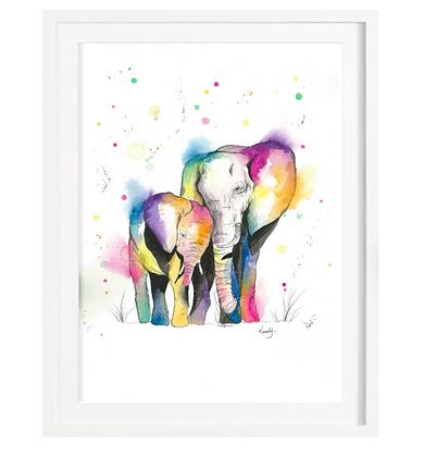 Loving Elephants A3 (Unframed)
