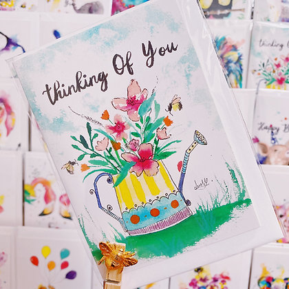 Greetings card - Blossoming Watering Can