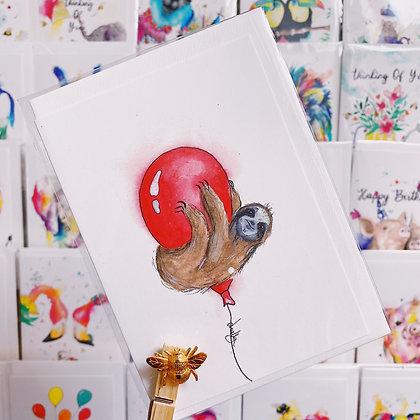 Greetings card - Birthday Sloth