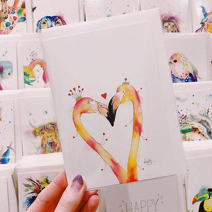 Greetings card - Flamingo Love