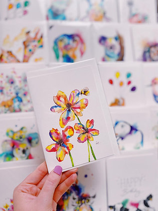 Greetings card - Rainbow Flowers