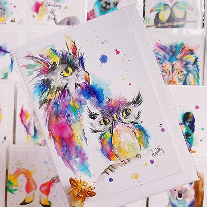 Greetings card - Wise Owls
