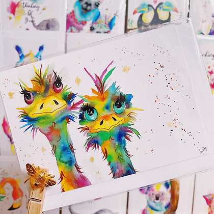 Greetings card - Crazy Ostrich Sisters