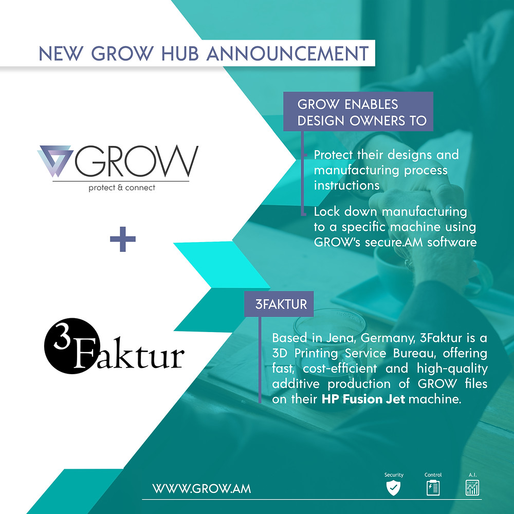 New GROW Hub Announcement - GROW enables secure distributed additive manufacturing through a suite of applications.