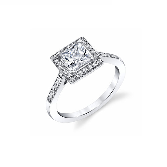 Princess Cut Halo Engagement Ring Setting