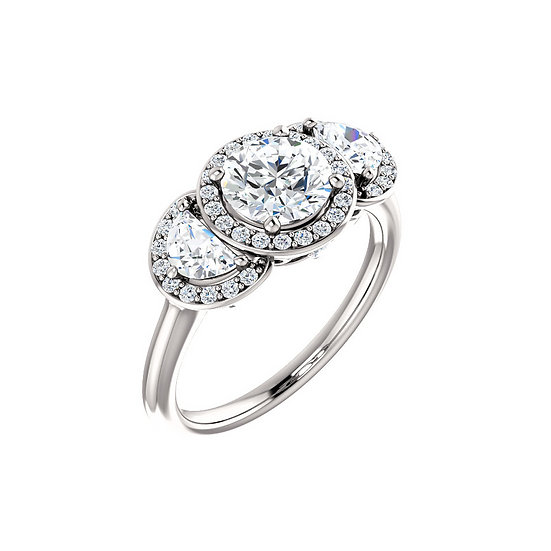 Three stone halo diamond engagement ring setting