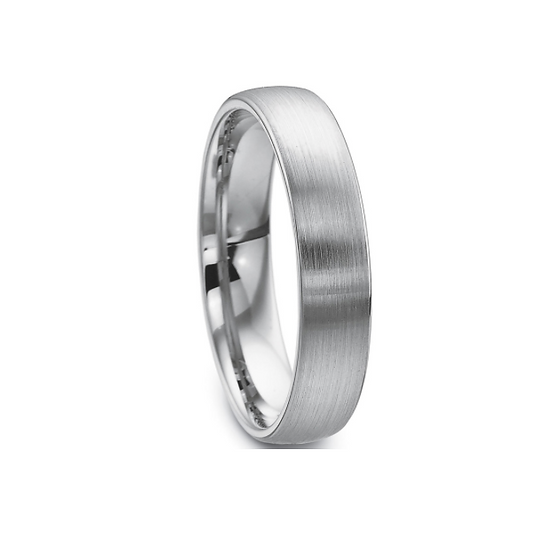 White Gold Mens 5mm Satin Finish Wedding Band