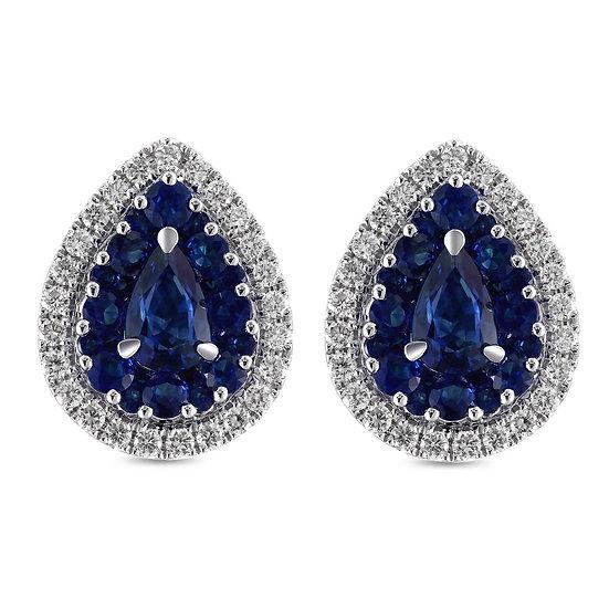 Pear Sapphire Diamond Stud Earrings