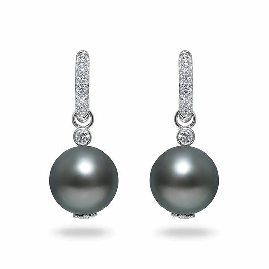 Tahitian Pearl Diamond Earrings