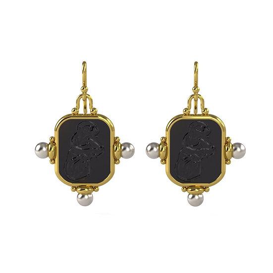 Vintage Inspired Gold Pearl Earrings