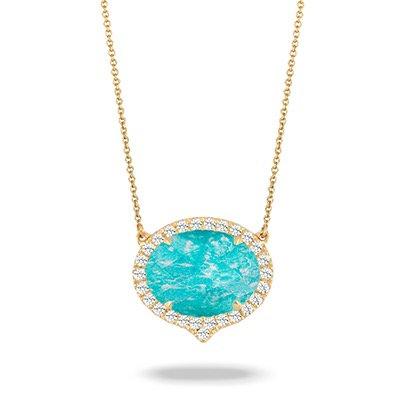 Amazonite diamond necklace