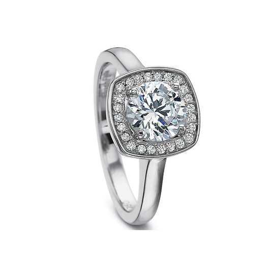 Halo Plain Shank Engagement Ring