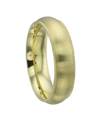 Mens contemporary green gold domed band