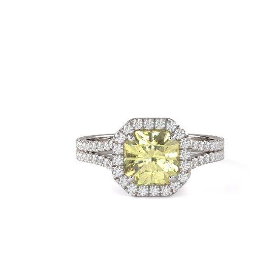 Cushion Yellow Diamond Split Shank Engagement Ring