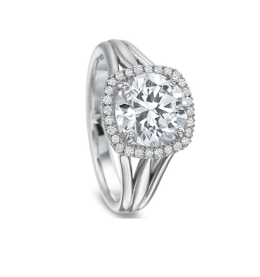Triple Band Halo Engagement Ring