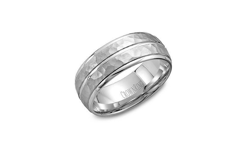 Mens Hammer Finish Wedding Ring