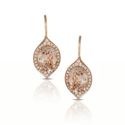 Morganite diamond earrings