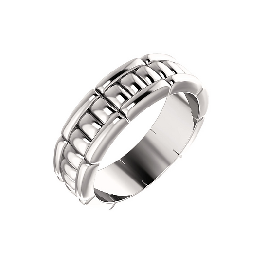 7mm white gold link wedding band