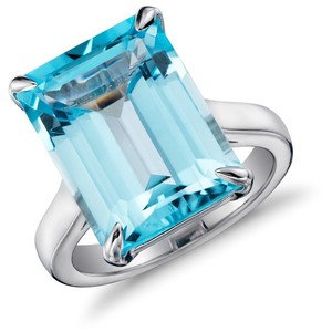 Emerald Blue Topaz Ring