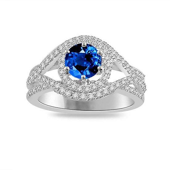 Sea Sapphire Diamond Ring