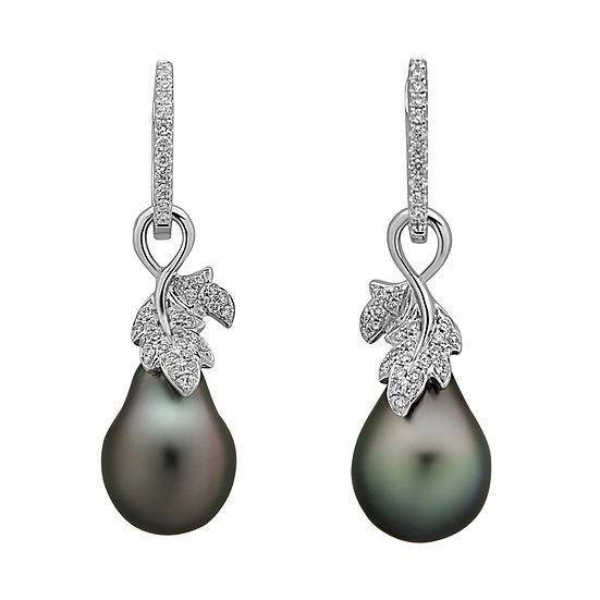 Tahitian Leaf Diamond Earrings
