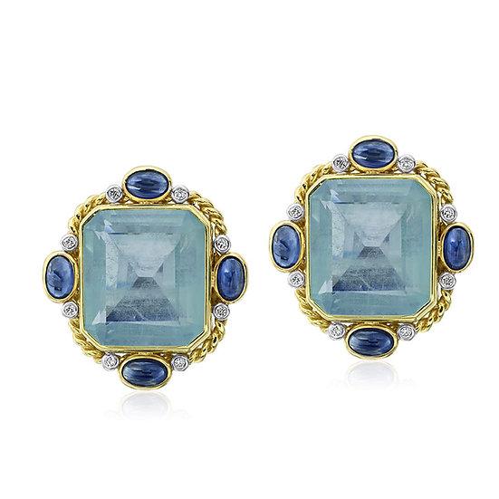 Aquamarine Sapphire Earrings
