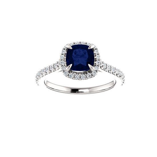 Cushion sapphire halo engagement ring