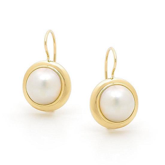 Pearl Dangle Gold Earrings
