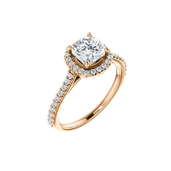 Rose Gold Pedal Gallery Halo Engagement Ring