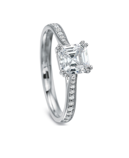 Emerald Cut Solitaire Engagement Ring Setting