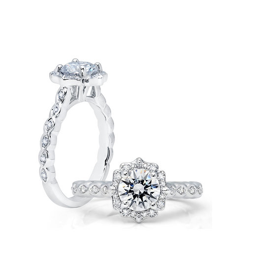 Scalloped Halo Engagement Ring Setting