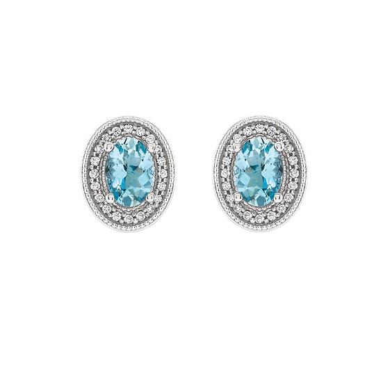 Aquamarine Diamond Halo Stud Earrings