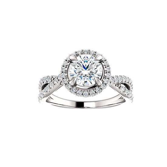 Twist Band Halo Engagement Ring Setting