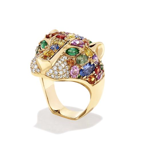 Gemstone Diamond Panther Ring