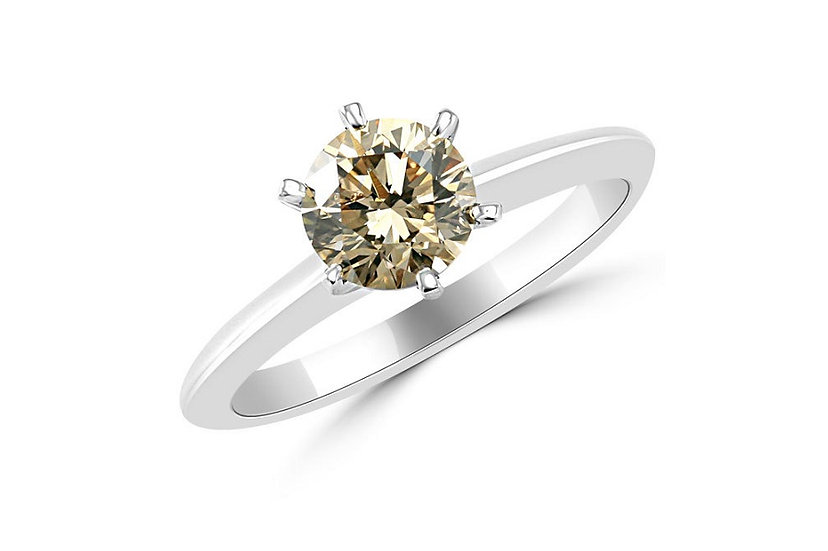 Brown Diamond Solitaire Engagement Ring