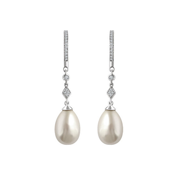 Pearl Diamond Dangle Earrings
