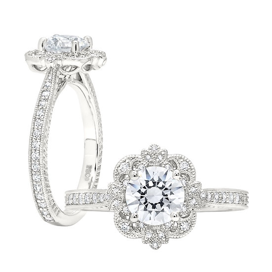 Victorian Halo Engagement Ring Setting