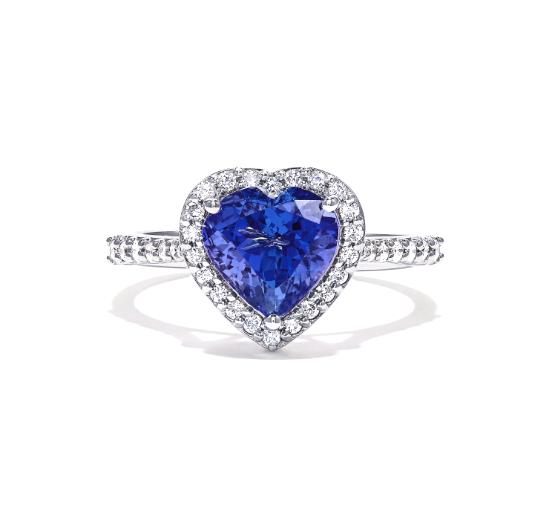Heart Tanzanite Diamond Ring
