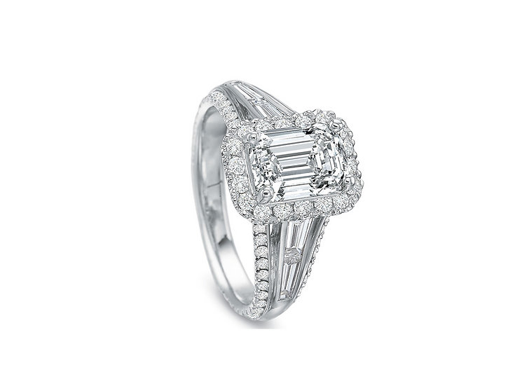 Emerald Halo Baguette Engagement Ring