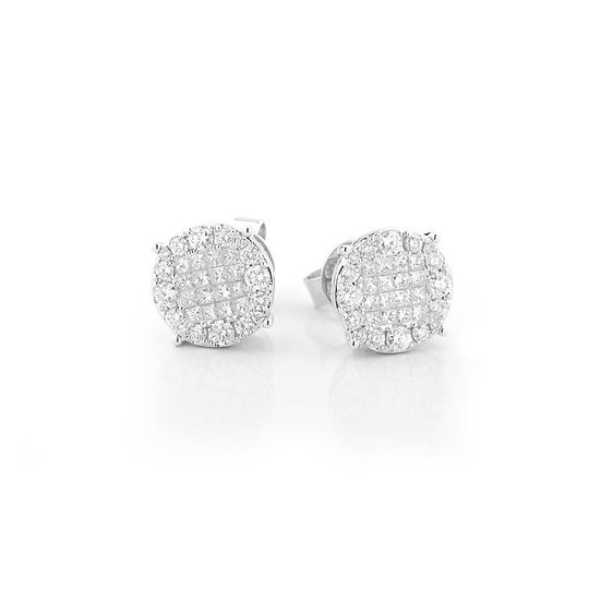Invisible Set Diamond Stud Earrings