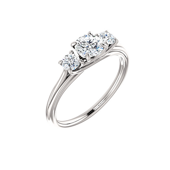 Three stone split band engagement ring