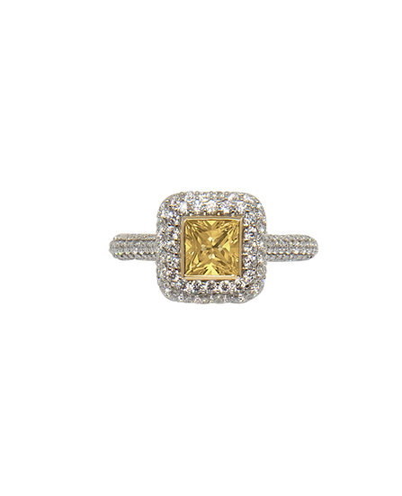 Princess Cut Yellow Diamond Halo Ring