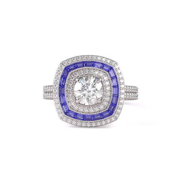 Vintage Sapphire Diamond Engagement Ring Setting