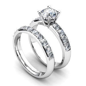 Diamond Solitaire Engagement Ring w/ Side Stones