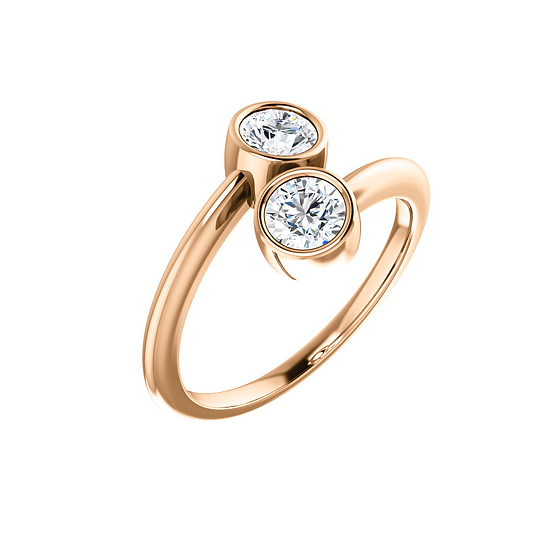 Two Stone Rose Gold Ring