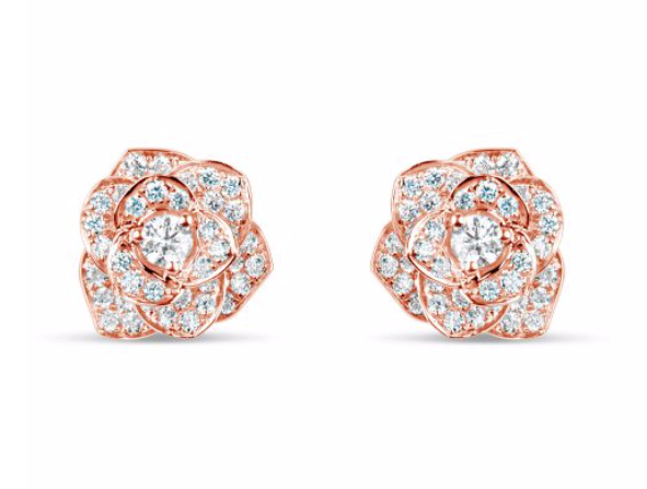 Diamond Rose Gold Flower Earrings